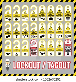 Set of safety caution labels and tags for world industrial lockout-tagout maintenance safety procedure.