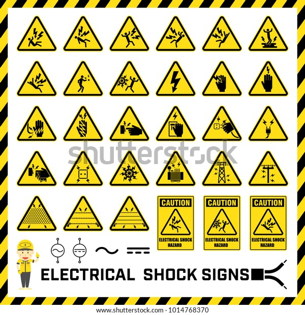 Set Safety Caution Signs Symbols Electrical Stock Vector