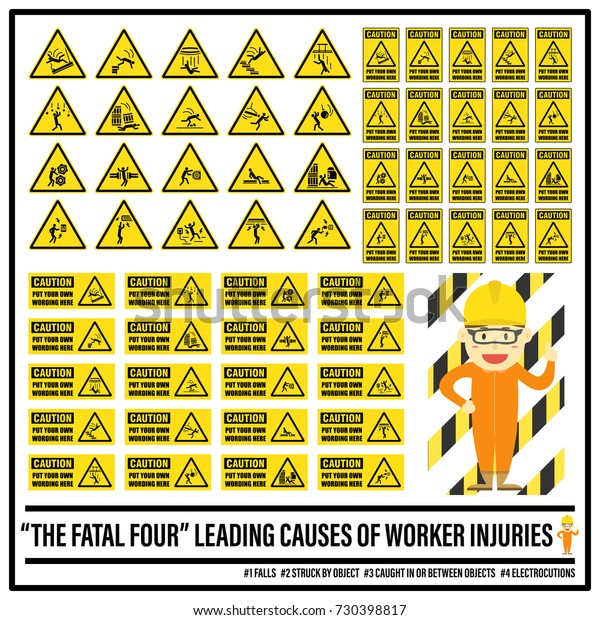 Set Safety Caution Signs Symbols Fatal Stock Vector (Royalty
