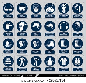 set of safety equipment signs  mandatory construction and industry signs   collection of safety and