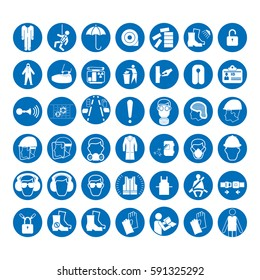 Set of safety and health protection signs. Mandatory construction and industry signs. Collection of safety equipment. Protection on work. Vector illustration