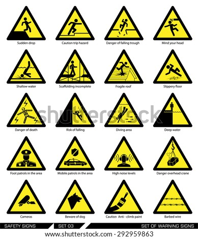set safety signs caution signs collection のベクター画像素材