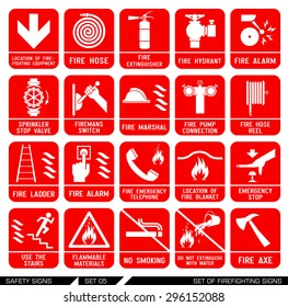 Set of safety signs. Firefighting icons. Set of firefighting signs. Collection of warning signs. Vector illustration. Signs of danger. Signs of alerts. Fire icons.