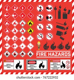 Set of safety signs and symbols of fire hazard, Fire hazard warning signs, Highly combustible area signs