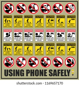 Set of safety signs and symbols of using phone safely are use to remind people to be aware of using phone during the day.