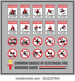 Set of safety warning signs and symbols for causes of common electrical fires, Signs for warning messages of using electrical equipment safely.