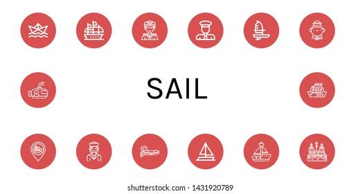 Set of sail icons such as Paper ship, Galleon, Captain, Windsurf, Sailor, Ship, Motorboat, Sailing boat, Sailboat, Pirate ship, Submarine, Cruise , sail