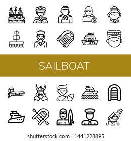 Set of sailboat icons such as Pirate ship, Galleon, Captain, Sailor, Lifeboat, Pirate, Cruise, Nefertiti, Motorboat, Yatch, Viking, Inflatable boat, Surfer, Yacht, Ship in a bottle , sailboat