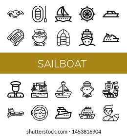 Set of sailboat icons such as Seagull, Lifeboat, Boat, Captain, Inflatable boat, Rudder, Cruise, Yacht, Motorboat, Boat porthole, Sailboat, Yatch, Sailor, Pirate ship , sailboat
