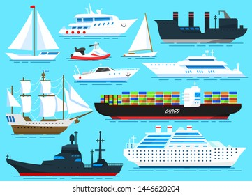 Set of sailboats, Sea ships and cargo boats sailing on blue water. Transport sailors for world travel. Vector illustration in cartoon style for Summer background, poster or banner