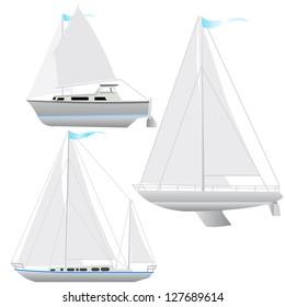 Set sailing boat floating. Vector illustration.