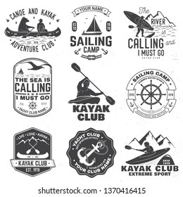 Set of sailing camp, yacht club, canoe and kayak club badges. Vector. Concept for shirt, print, stamp or tee. Vintage typography design with mountain, river, kayaker silhouette. Extreme water sport.