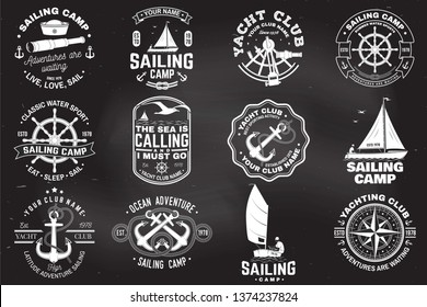 Set of sailing camp and yacht club badge. Vector on the chalkboard. Concept for shirt, print, stamp or tee. Vintage typography design with black sea anchors, hand wheel, compass and sextant silhouette