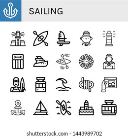 Set of sailing icons such as Anchor, Lighthouse, Kayak, Windsurf, Sailor, Airbed, Yatch, Windrose, Surfer, Tramway, Wave, Rope, Travel, Sailing boat , sailing