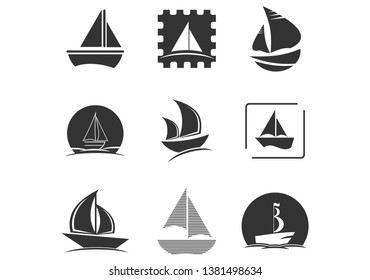 Set of sailing ship, sailing boat, sailboat, sail, ship, clipper logo