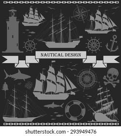 Set of sailing ships with nautical design elements over grey background. Vector illustration. No trace.