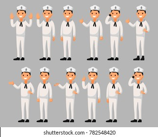 Set of a sailor man cartoon character in different poses. Vector illustration in a flat style