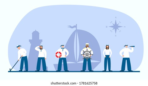 Set of sailors and captain. Collection of flat seaman in uniform. Ship crew. Vector