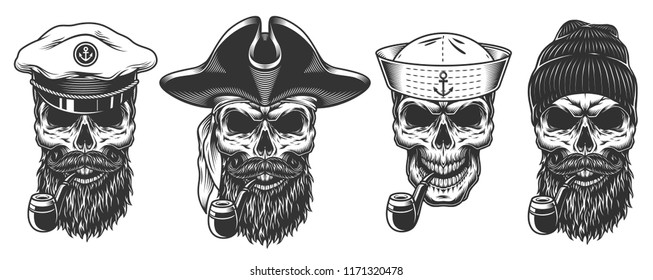 Set of sailors. concepts with skulls. Vector illustraiton