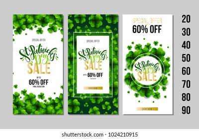 Set of Saint Patrick's Day Sale posters. Typography banner template. Vector Illustration