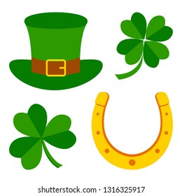 e03cbd444 Set for Saint Patrick's Day. Symbols of holiday. Clovers, hat, horseshoe.