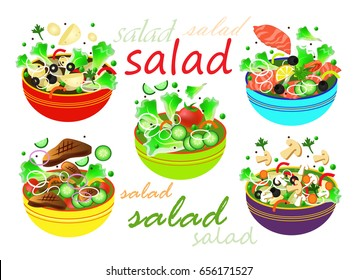 Set of salades. Mushroom, meat, vegetables,salmon, potatos salades