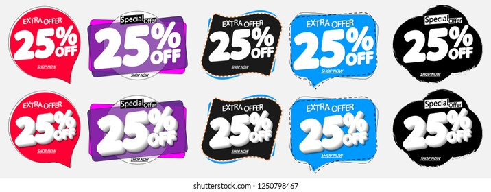 Set Sale 25% off banners, discount tags design template, special offer, extra promo, app icons, vector illustration