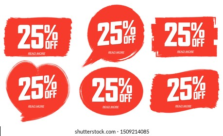 Set Sale 25% off banners, discount tags design template, extra promo, brush grunge, app icons, vector illustration