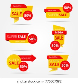 Set of sale banner collection, discount tag, special offer banner. Vector illustration