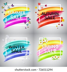 Set of  Sale Banner. Design element for promotion, flyer, cover, ad, store, retail. Frame, vector brush strokes for four seasons.