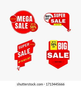Set of Sale banner and Discount label vector design. Badge offer isolated for  promotion.