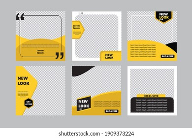 Set of sale banner with new look template design for promotion with yellow and black color poster.