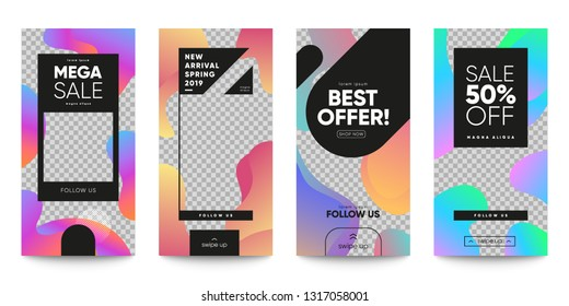 Set of sale banner for social media stories, web page and other pormotion. Cool geometric templates. Eps10 vector.