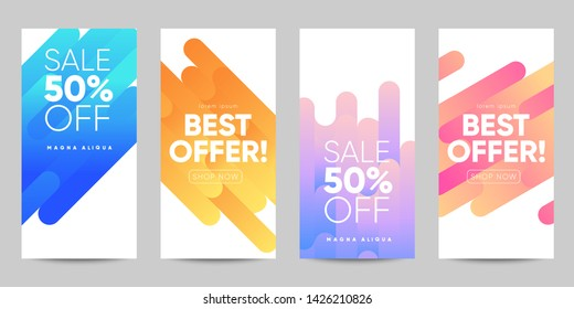 Set of sale banner for social media stories, web page and other pormotion for mobile. Eps10 vector.