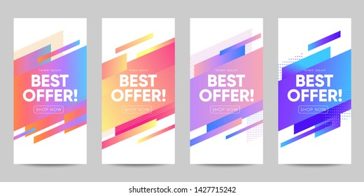 Set of sale banner for social media stories, web page and other promotion for mobile. Eps10 vector.