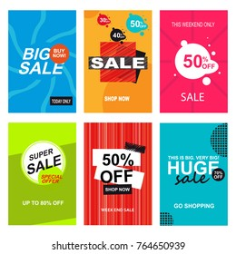 Set of sale banner templates. Big sale, Super sale, huge sale.
