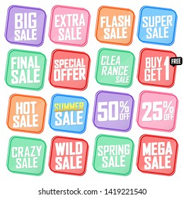 Set Sale banners design template, discount tags, vector illustration