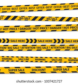 Set sale banners, discount ribbons, hot price stripe.  Stylised yellow lines isolated vector illustration.