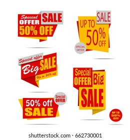 Set of sale banners in flat style for website design. Red and yellow discount posters, Sale tag, label, badge. Big sale, 50% off, Up to 50% off, Special offer. Vector illustration, eps10.