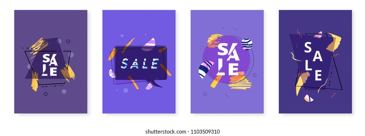 Set of Sale banners with geometric abstract composition. Dark promotion cards with sliced trendy text. Violet vertical posters for advertising design and social media. Vector illustration.