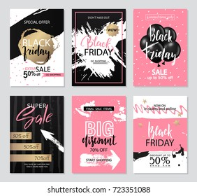 Set of sale banners with grunge elements, brush strokes and handwritten inscriptions. Black Friday sale banners. Vector illustrations of mobile website banners, posters, ads, coupons.
