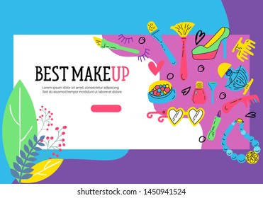 Set of sale banners with makeup cosmetics. Red lipstick, mascara, powder and cosmetic pencils. Vector horizontal and square banners. Design concept for makeup cosmetics label, flyer, gift card.