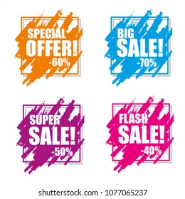 Set of sale banners, price tags, stickers, badges. Vector illustration.