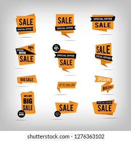 Set of sale banners. Yellow discount posters on a light background with shadow. Sale tags, labels, badges, stickers. Special offer. Big sale. Up to 50% off. Vector illustration, eps10