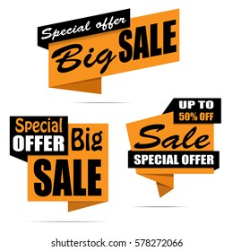 Set of sale banners. Yellow discount posters, Sale tag, label, badge, sticker, flat style. Special offer. Up to 50% off. Vector, eps10