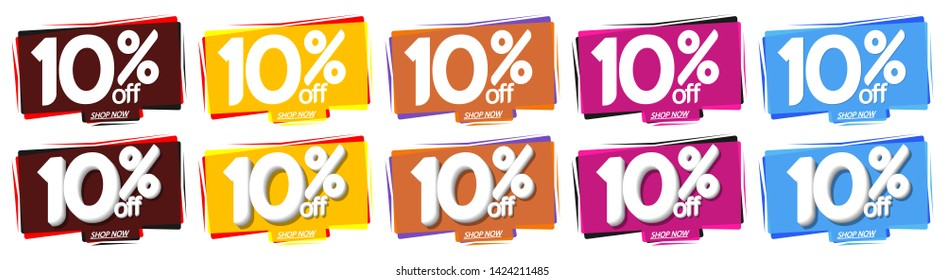 Set Sale bubble banners design template, discount 10% off tags, app icons, vector