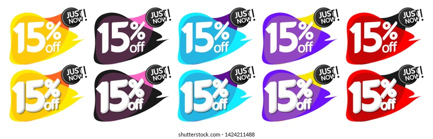 Set Sale bubble banners design template, discount 15% off tags, app icons, vector
