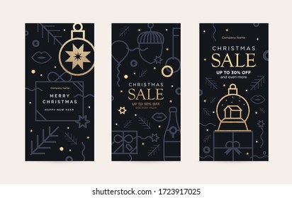 Set of sale cards holiday decorations in the style of abstract contour art.  Includes a balloon, confetti, and a Christmas glass ball with Gold grunge texture. New year's design template. Vertical
