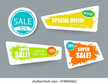 Set of sale creative stickers with place for your text, information, message. Super sale backgrounds, banners.