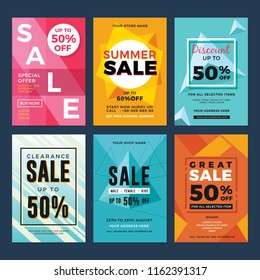 Set of sale and discount flyers. Vector illustration for social media banners, poster, flyer and newsletter designs